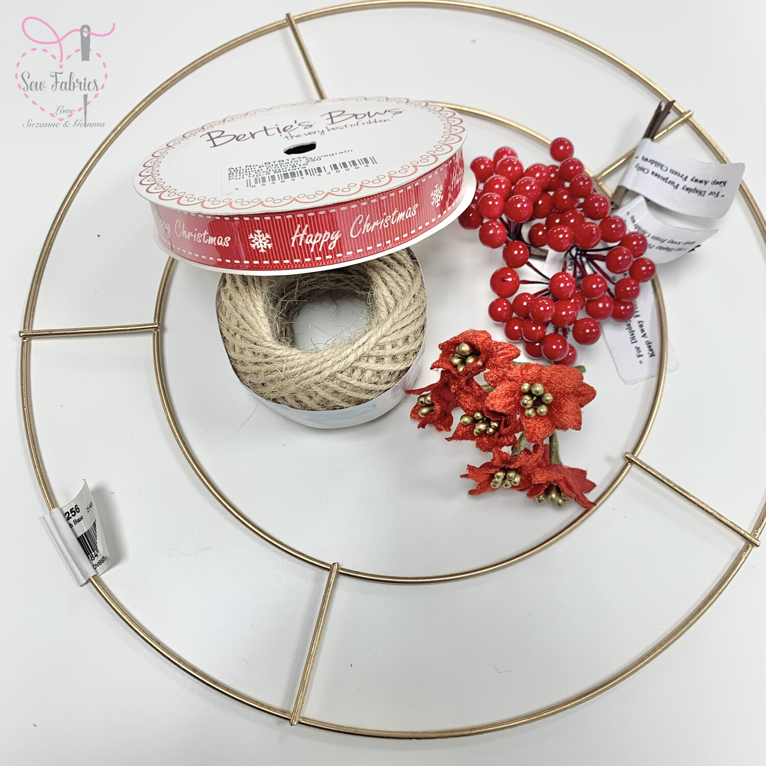 Christmas Wreath Make Your Own Wreath Kit including 25cm Wire Wreath, Red Berries, Poinsetta, Jute String and Xmas Ribbon