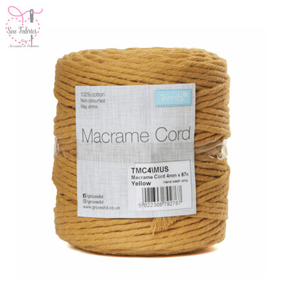 4mm Mustard Yellow Trimits Macrame Cord, 100% Cotton, String, Craft, Made in UK, 87m Spool
