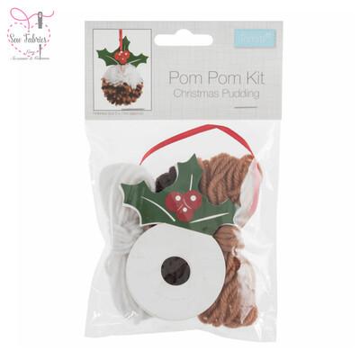 Christmas Pudding Pom Pom Kit, Make Your Own Xmas Decorations