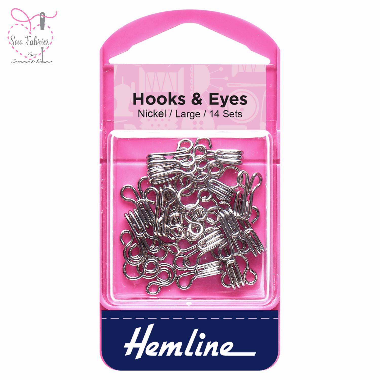 Hemline Nickel Coated Hooks and Eyes, Size 3 Large, Pack of 14 sets