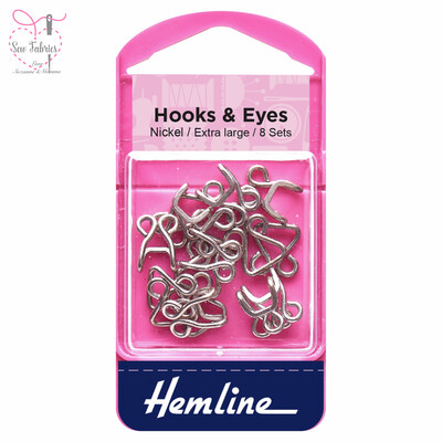 Hemline Nickel Coated Hooks and Eyes, Size 9 Extra Large, Pack of 10 sets