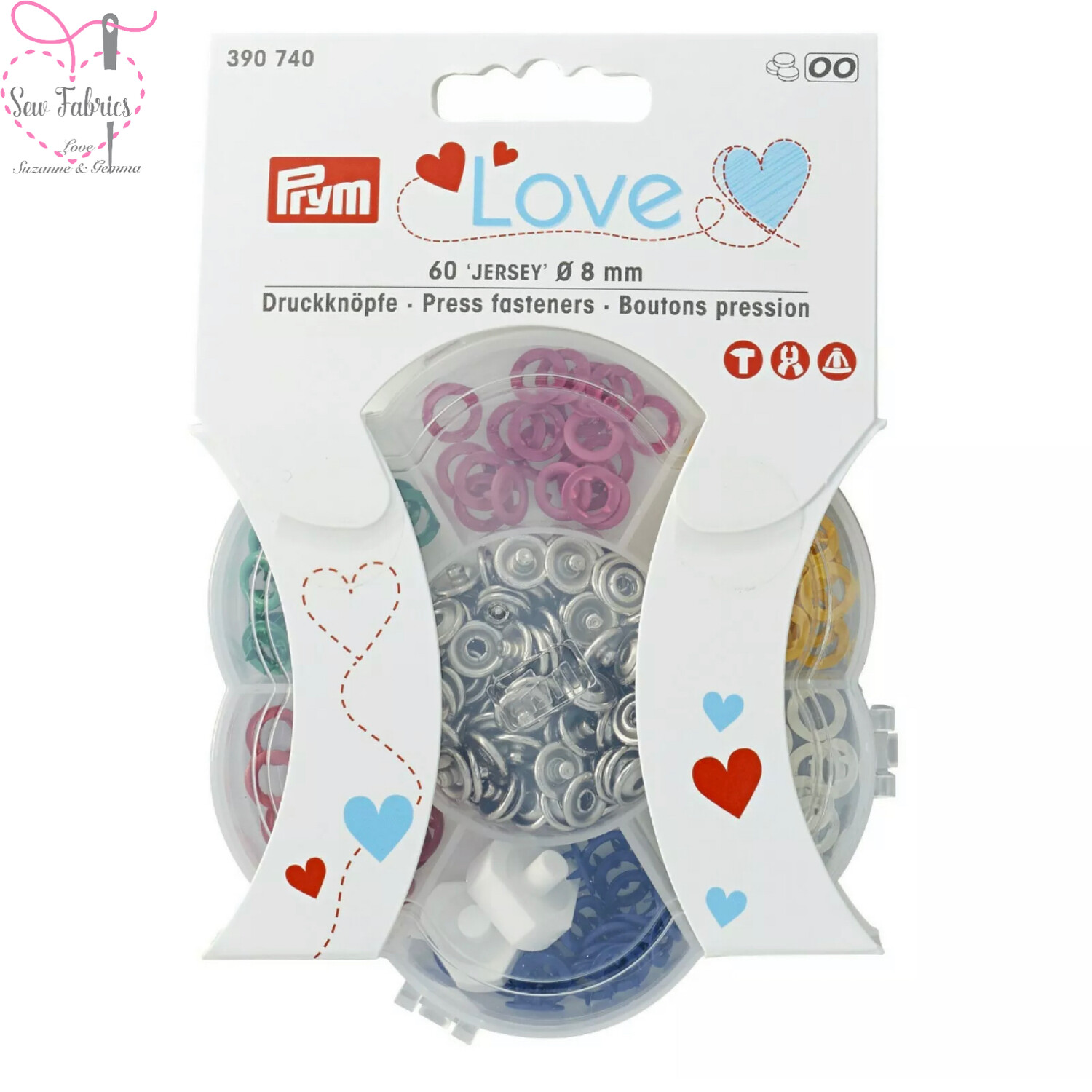 Prym Love Snap / Press Fasteners, Jersey 8mm in 6 colours. 60 pieces in organiser. Assorted Colours Press Studs for Dressmaking and Crafting.