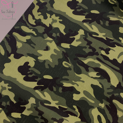 Khaki Green Camouflage Print Polycotton Fabric, Novelty Craft Material
