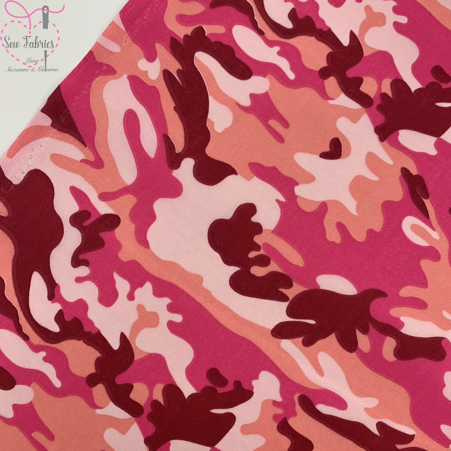 Pink Camouflage Print Polycotton Fabric, Novelty Craft Material