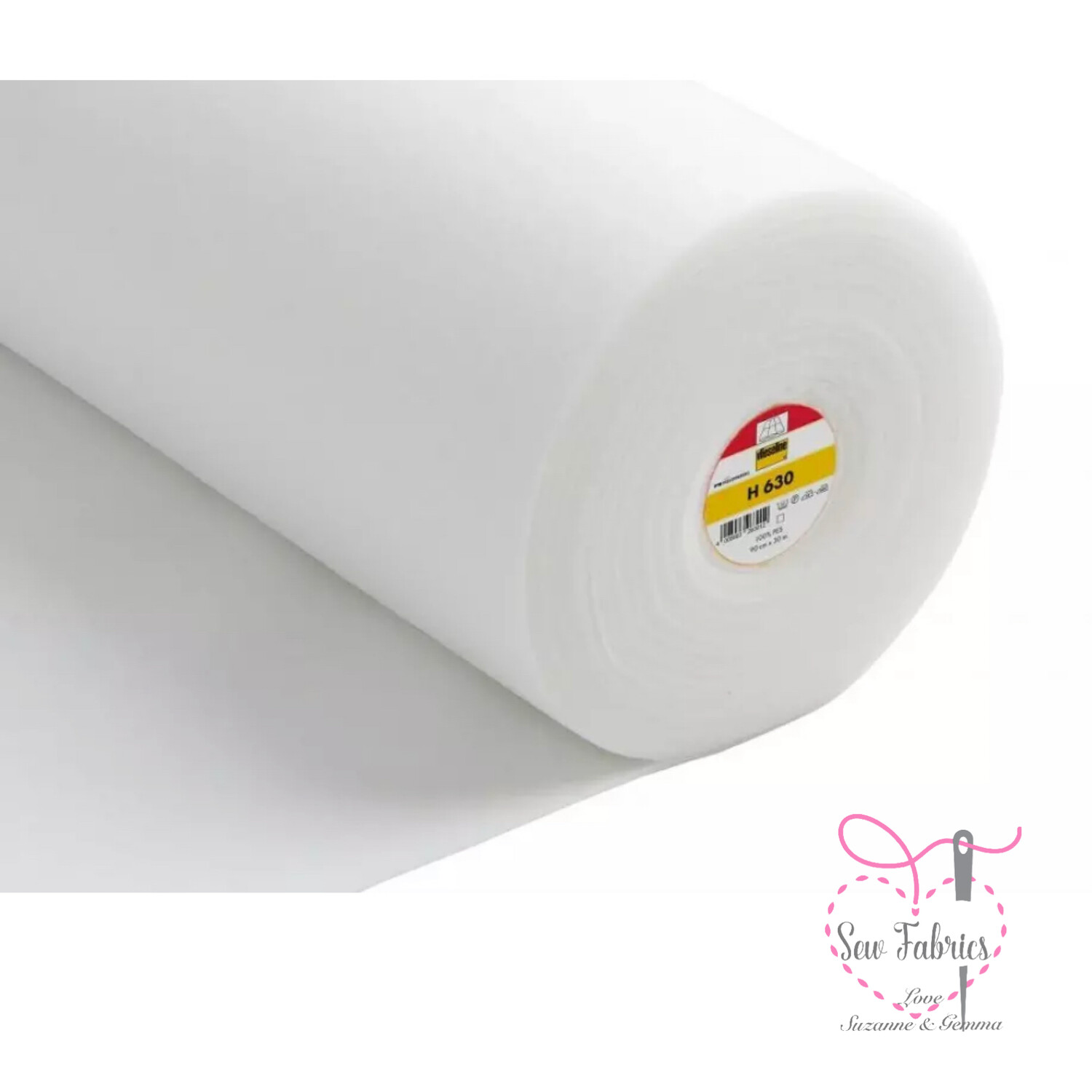 1m x White Low Loft Fusible Fleece Wadding / Batting, 90cm Wide by Vilene Vlieseline, for applique and clothing applications.