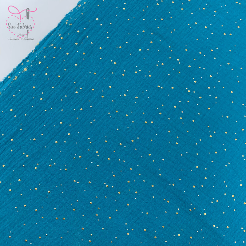 Teal with Gold Glitter Foil Scattered Drop, Muslin Fabric, 100% Cotton, Grey Material