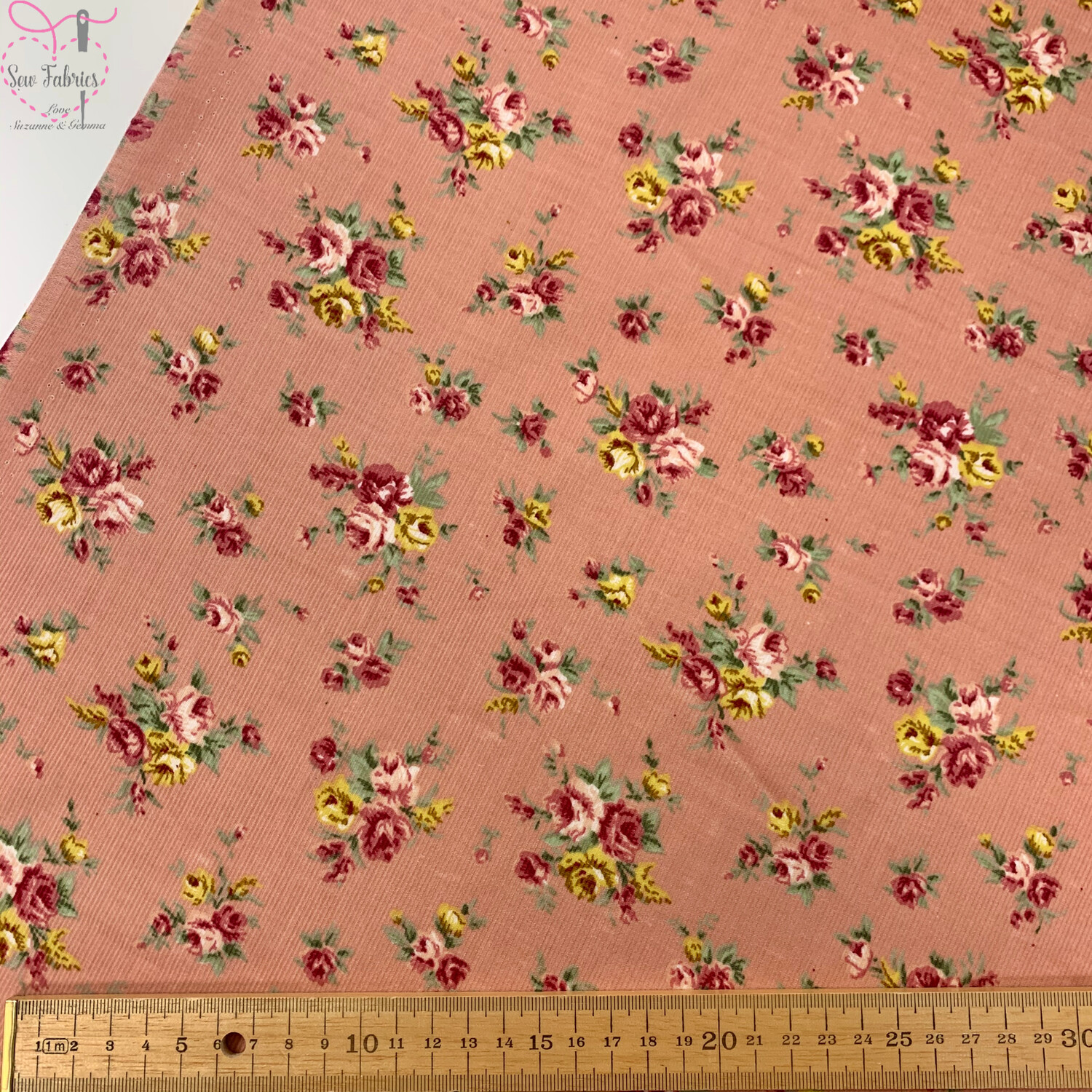 """Pink Ditsy Roses Cord, 100% Cotton Needlecord Fabric, 44""""/111cm Width"""
