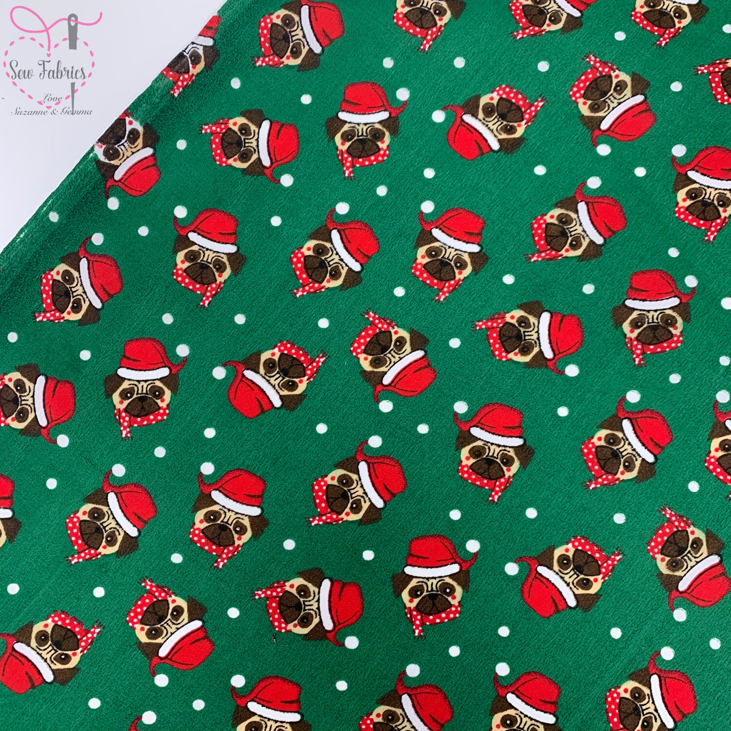 Emerald Green Santa Hat Pug Christmas Theme Printed Polycotton Fabric Xmas, Festive Material