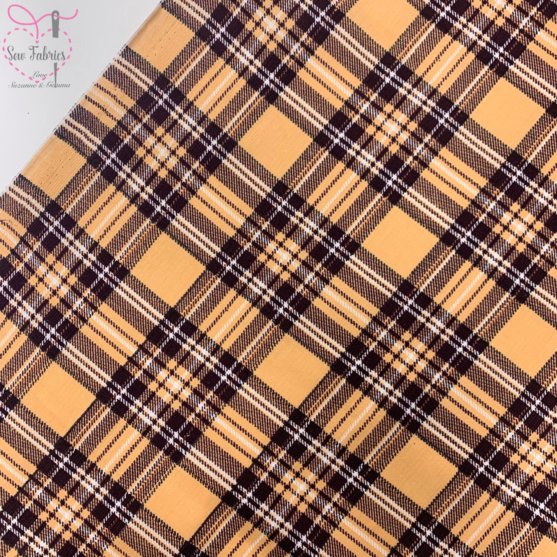 "Camel Tartan Cord, 100% Cotton Needlecord Fabric, 44""/111cm Width, Beige Material"
