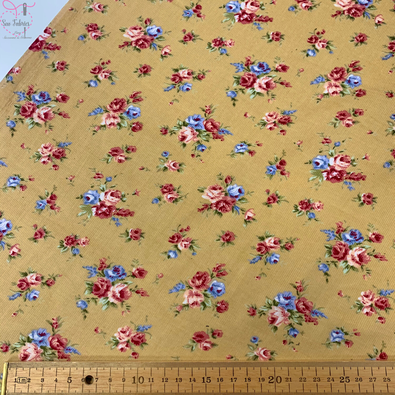 """Beige Ditsy Roses Cord, 100% Cotton Needlecord Fabric, 44""""/111cm Width"""