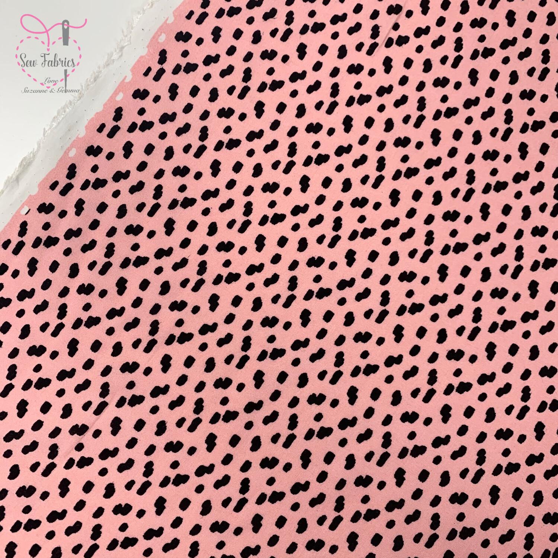 "Pink Dalmation Print 100% Viscose Fabric, 56"" Width"