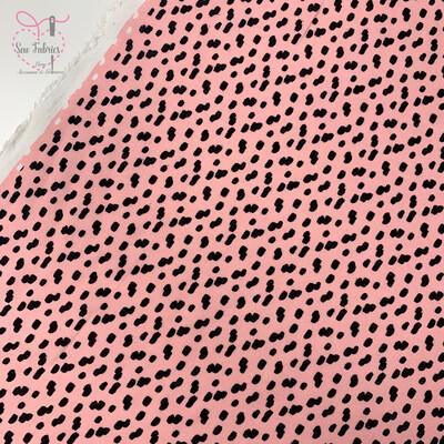 Pink Dalmation Print 100% Viscose Fabric, 56