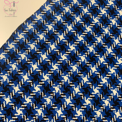 Royal Blue Dogtooth Print Jersey, 95% Viscose Fabric, 58