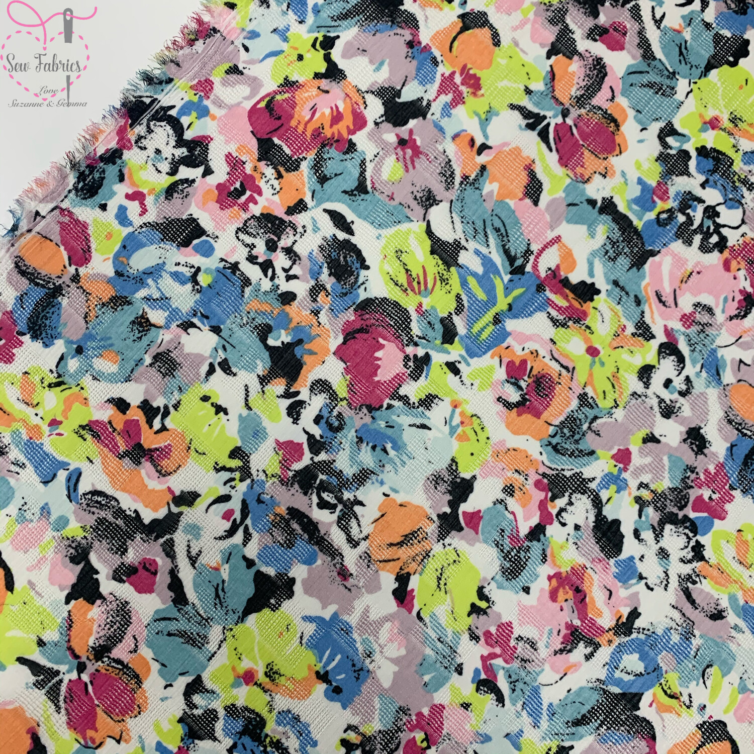 """Multi Floral Print 100% Polyester Viscose Fabric, 59"""" Width"""