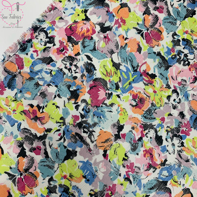 Multi Floral Print 100% Polyester Viscose Fabric, 59