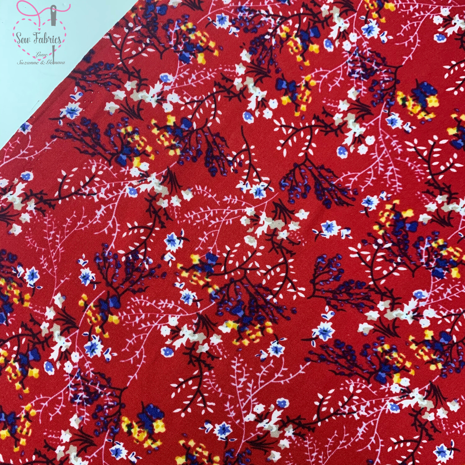 """Cherry Red Floral Print 100% Viscose Fabric, 58"""" Width"""