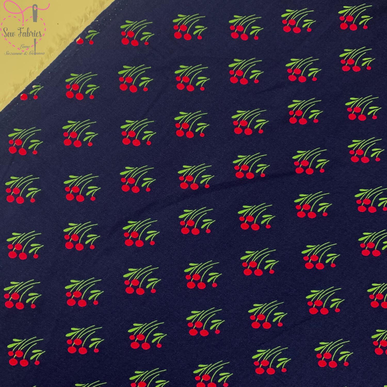 "Royal Blue Flower Print 100% Viscose Fabric, 58"" Width"