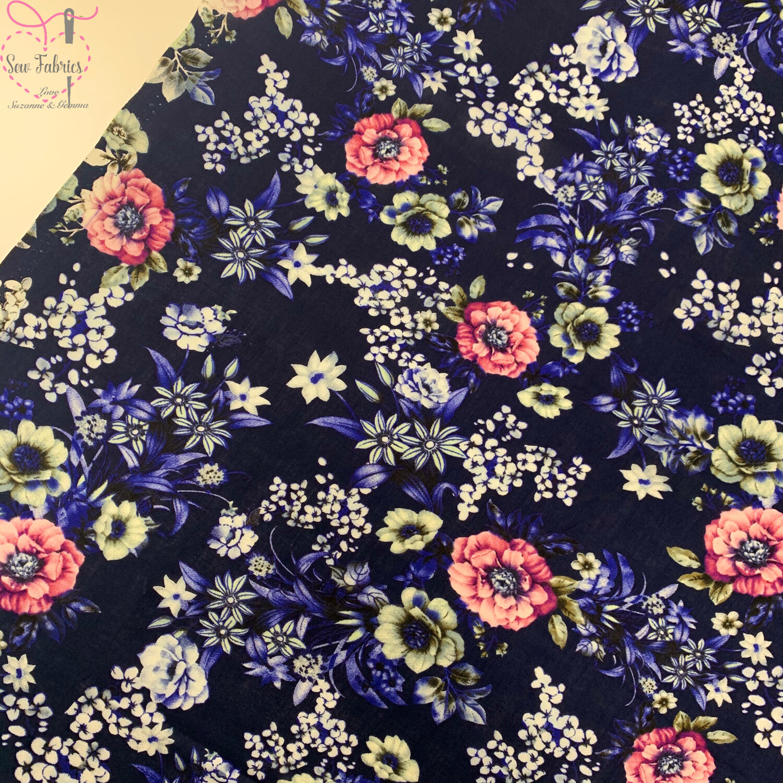 "Navy Blue Vintage Floral Print 100% Viscose Fabric, 58"" Width"