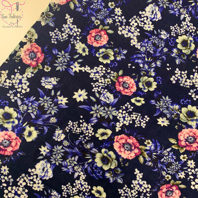 Navy Blue Vintage Floral Print 100% Viscose Fabric, 58