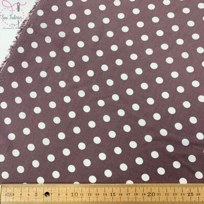 Mauve Peaspot Print 100% Viscose Fabric, 56