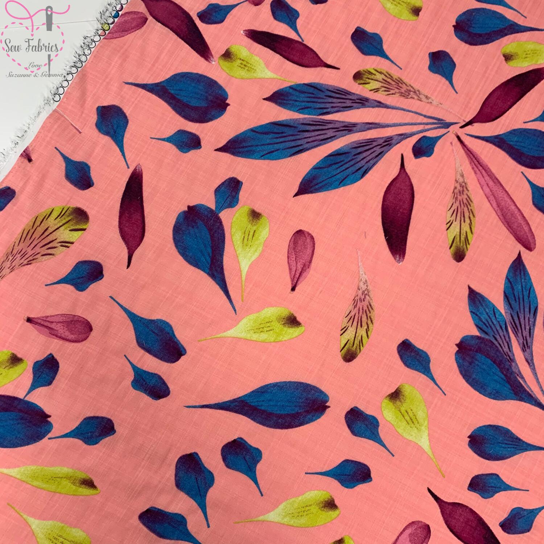 "Pink Petals Linen Look Cotton Viscose, 58"" Width"