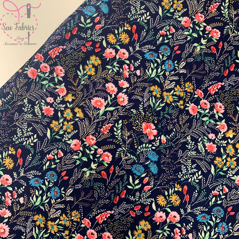 Rose & Hubble Navy Blue Floral Delight 100% Cotton Poplin Fabric