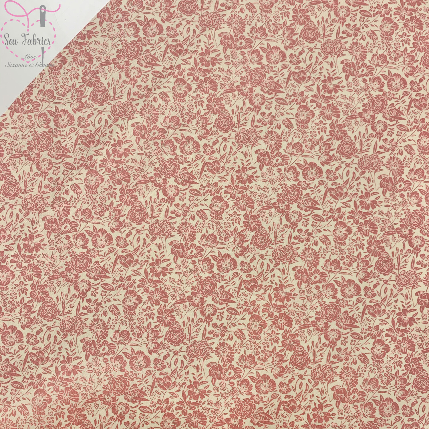 Rose & Hubble Rose Pink Classic Floral 100% Cotton Poplin Fabric