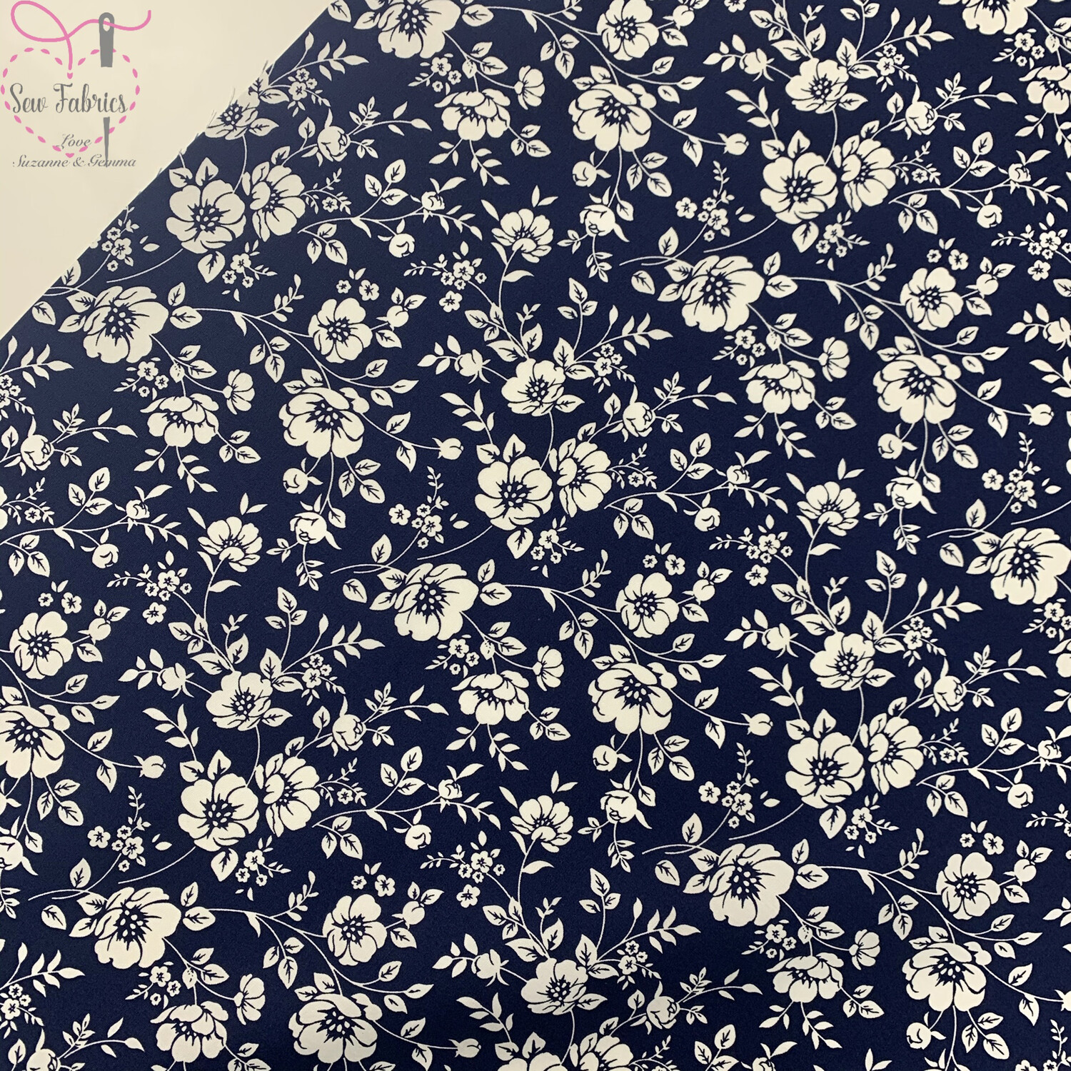 Rose & Hubble Navy Blue Ivory Bold Floral Fabric, 100% Cotton Poplin Material