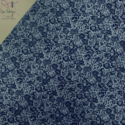 Rose & Hubble Denim Blue Classic Floral 100% Cotton Poplin Fabric