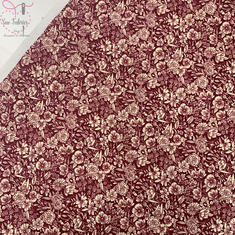 Rose & Hubble Claret Classic Floral 100% Cotton Poplin Fabric