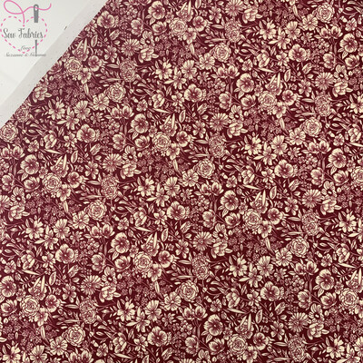 Rose & Hubble Claret Classic Floral 100% Cotton Poplin Fabric