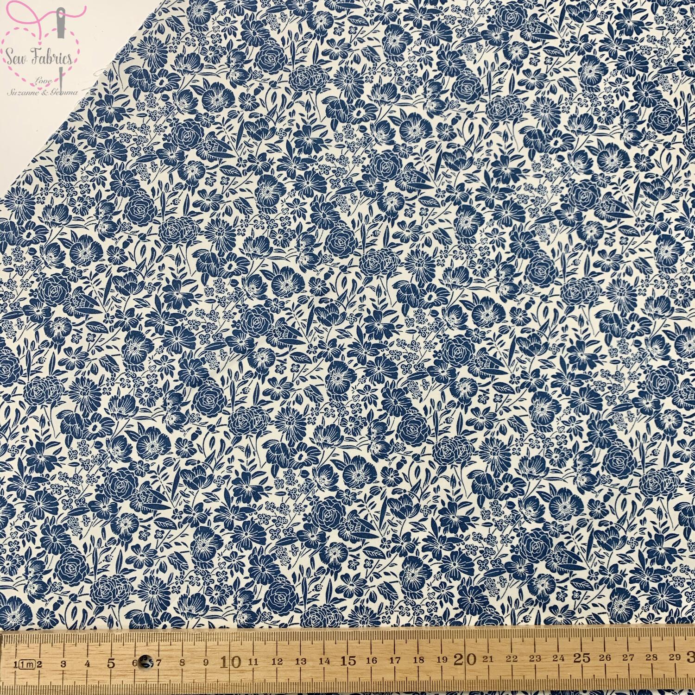 Rose & Hubble Copen Blue Classic Floral 100% Cotton Poplin Fabric