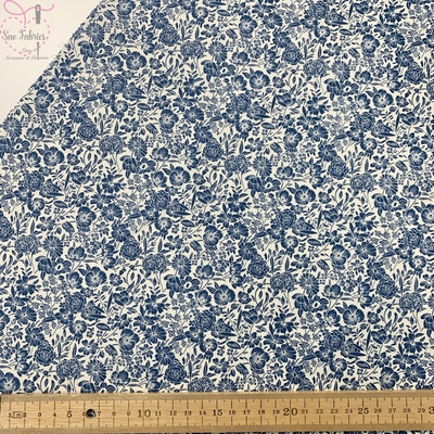 Rose & Hubble Copen Blue Classic Floral 100% Cotton Poplin Fabric