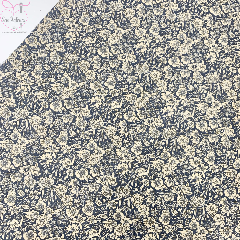Rose & Hubble Grey Classic Floral 100% Cotton Poplin Fabric