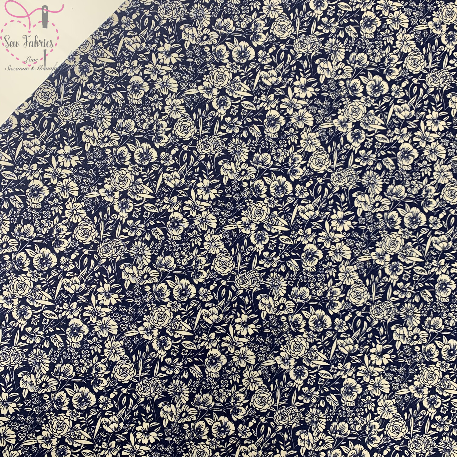 Rose & Hubble Navy Blue Classic Floral 100% Cotton Poplin Fabric