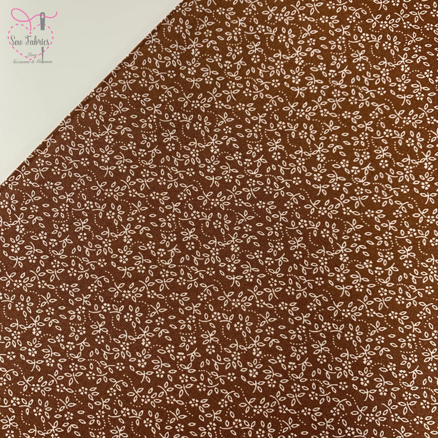 Camel 100% Craft Cotton Ditsy Daisy Fabric, Floral Material