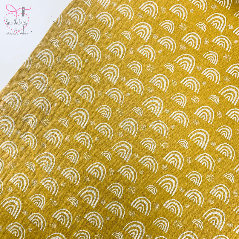 Ochre Rainbow Print Muslin Fabric, 100% Cotton Double Gauze, Mustard Yellow Material