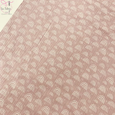 Old Pink Rainbow Print Muslin Fabric, 100% Cotton Double Gauze Material