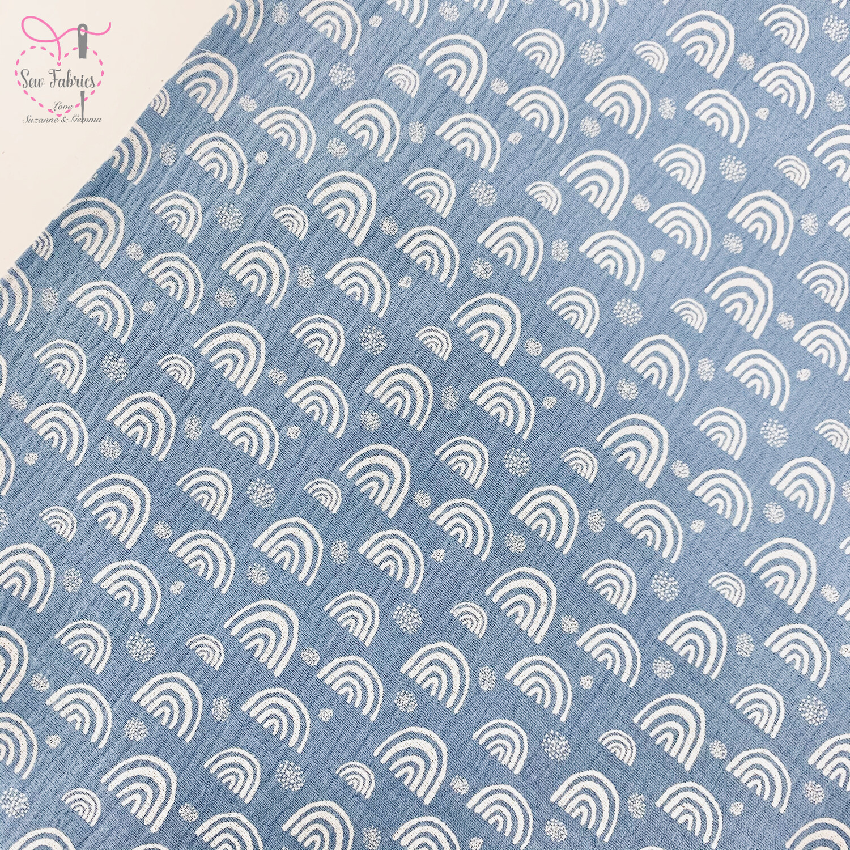 Baby Blue Rainbow Print Muslin Fabric, 100% Cotton Double Gauze Material
