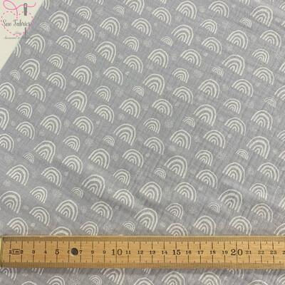 Light Grey Rainbow Print Muslin Fabric, 100% Cotton Double Gauze Material
