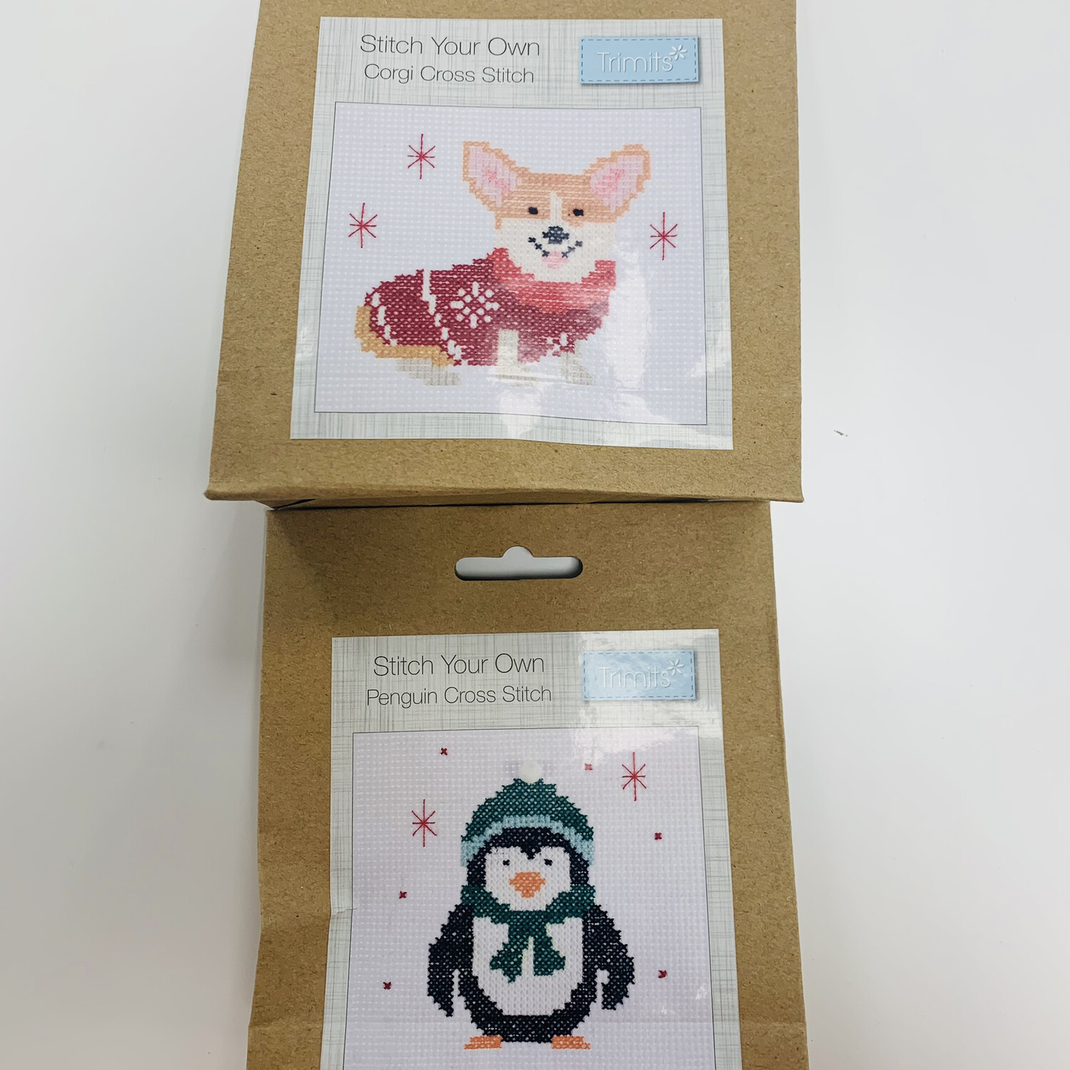 Pack of 2 Trimits Cross Stitch, Stitch Your Own Christmas Decorations - Corgi and Penguin