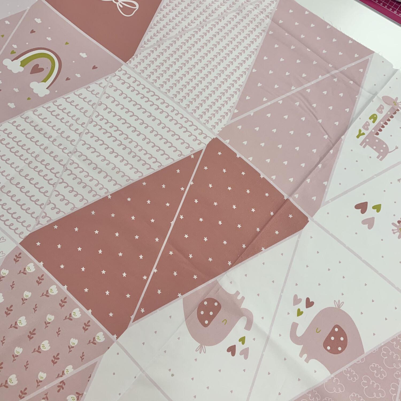 John Louden Pink Children's Baby Bunting Panel 100% Cotton Poplin, Fabric Panel