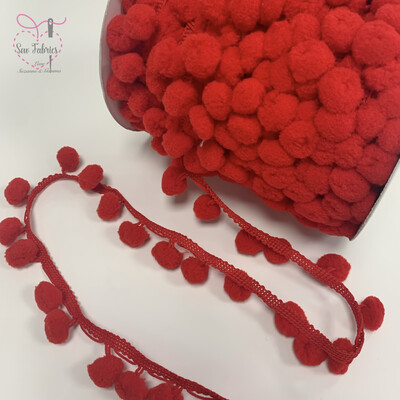 Bertie's Bows Red 15mm Diameter Pom Pom Trim, Edging, Fringe, Braid, Craft x 5 metres