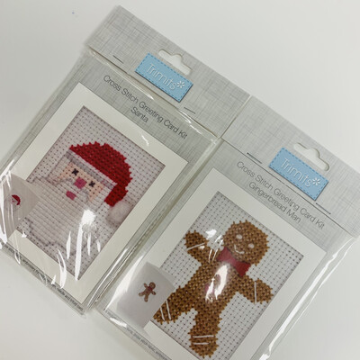 Pack of 2 Trimits Cross Stitch Greeting Card Kits - Gingerbread Man and Santa