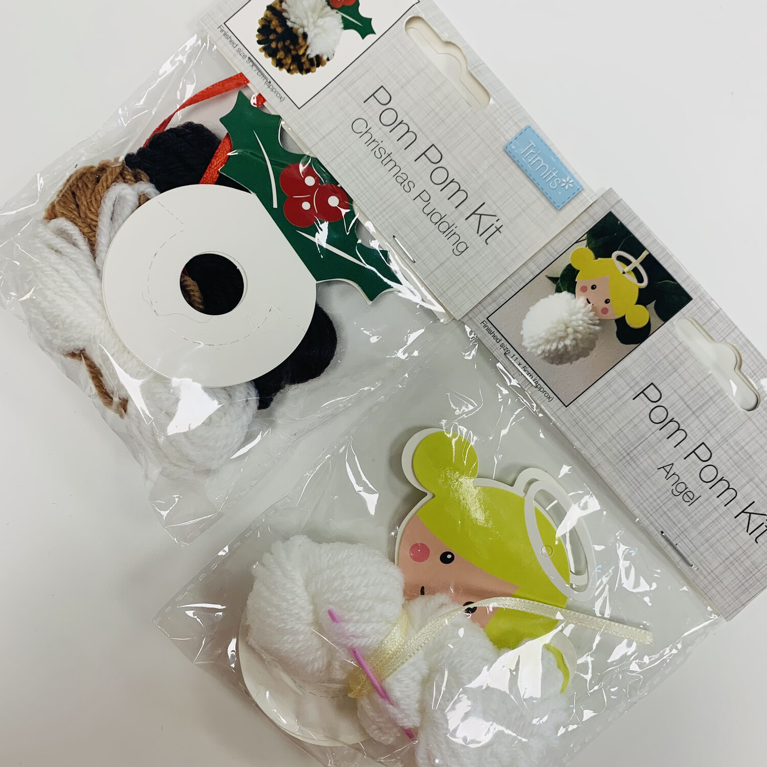 Pack of 2 Trimits Pom Pom Kits - Christmas Pudding and Angel