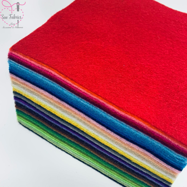 42 Piece Assorted Colours, Felt Pack, 15 x 15cms Craft Pack