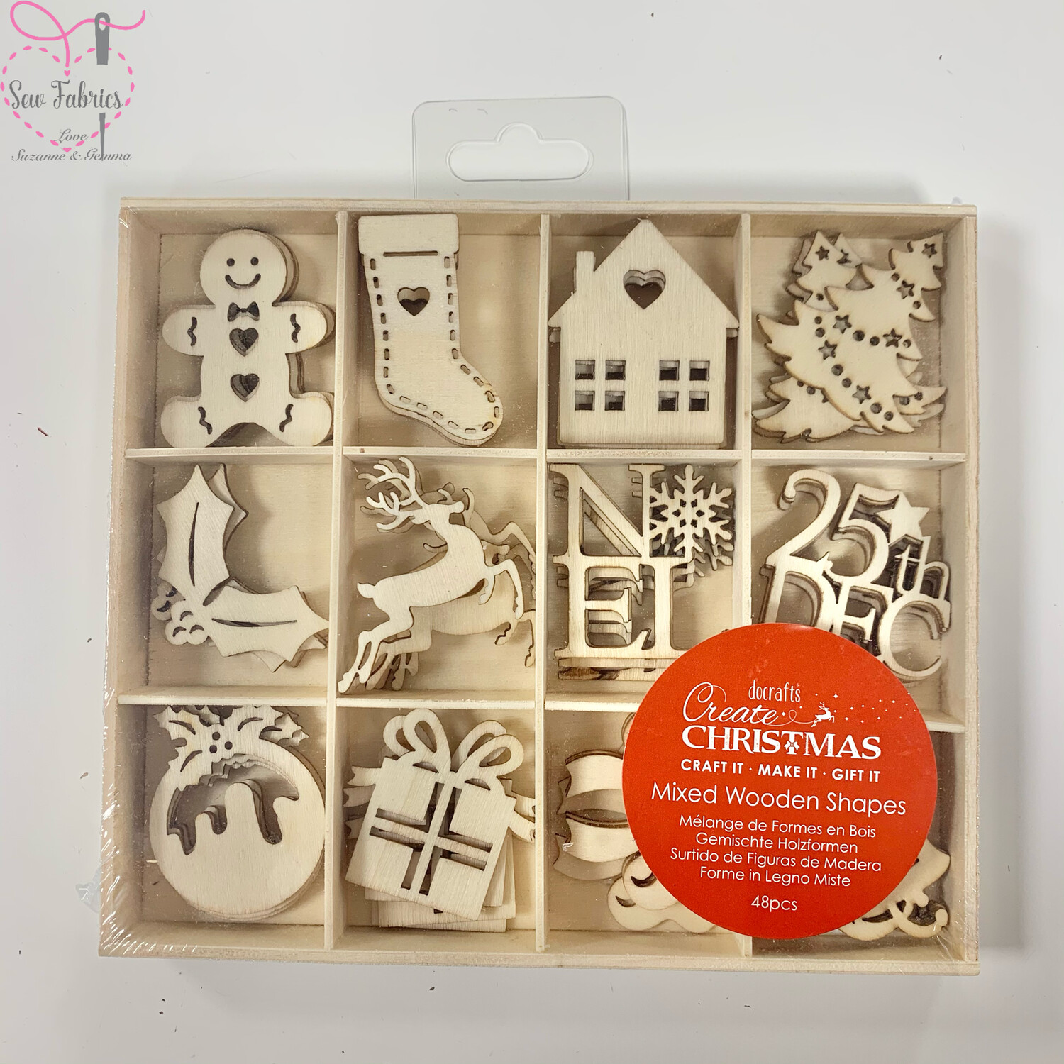 Docrafts Christmas Icons Mixed Wooden Shapes - 48 Piece Pack, Christmas Crafts