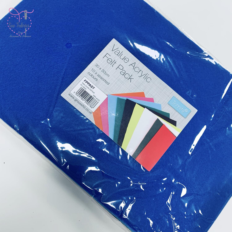 Value Acrylic Felt Pack - 10 Sheets, Assorted Colours, 30 x 20cm, Craft Felt