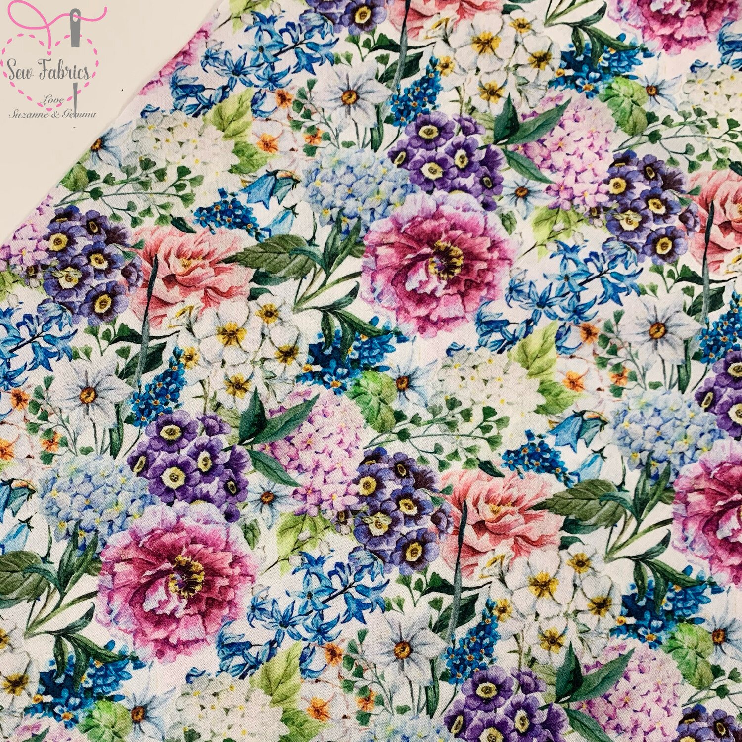 "John Louden Large Blooms Fabric 100% Cotton 60""/150cm Width, Floral Material"