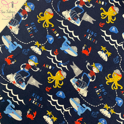 John Louden Organic Cotton, Navy King of Pirates Digital Printed Cotton Elastane Jersey Fabric, Dress, Children's